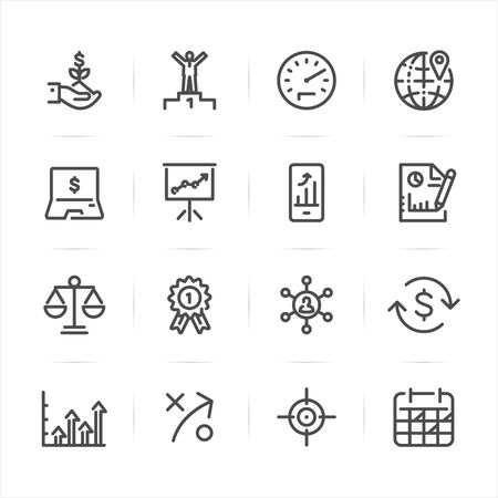 Business and Finance icons with White Background Ilustração