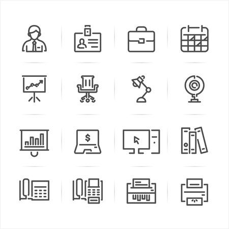 Bedrijfs- en kantoorpictogrammen met witte achtergrond