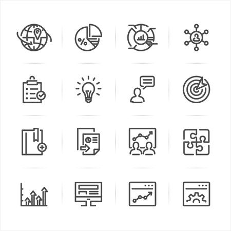 SEO en ontwikkeling pictogrammen met witte achtergrond