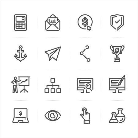 SEO en internet pictogrammen met witte achtergrond Stock Illustratie