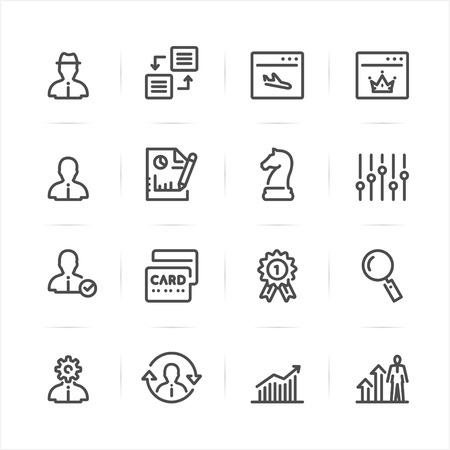 SEO en Ontwikkeling pictogrammen met witte achtergrond Stock Illustratie