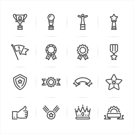 Trophy, Prize and Awards icons with White Background