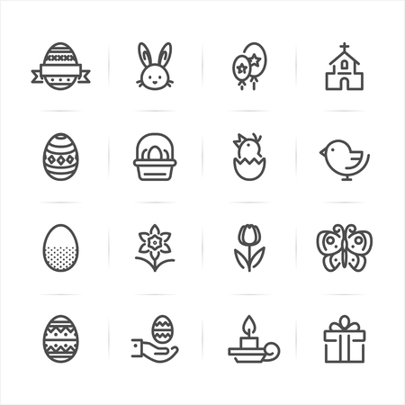 Easter icons with White Background