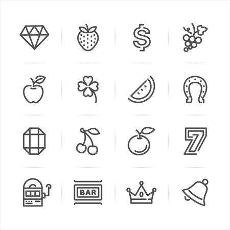 Slot Machine icons with White Background Ilustração