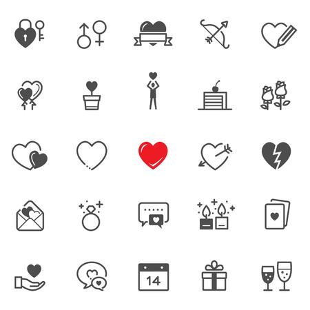 Valentijnsdag pictogrammen met witte achtergrond