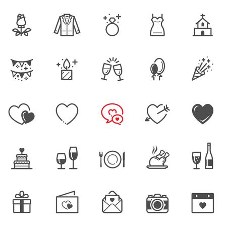 Liefde en Wedding pictogrammen met witte achtergrond