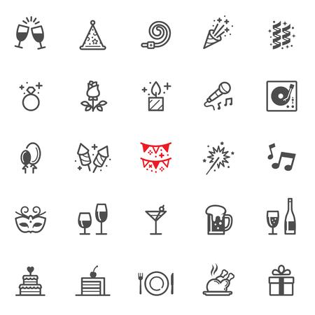 Viering en feest iconen met witte achtergrond