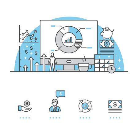 Bedrijfsbanner en pictogrammen met witte achtergrond Stock Illustratie