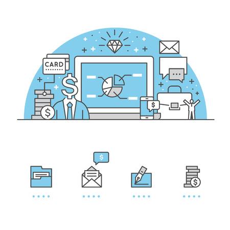 Financieringsbanner en pictogrammen met witte achtergrond