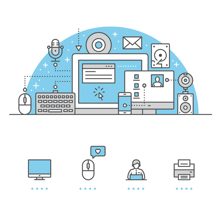 Computerbanner en pictogrammen met witte achtergrond