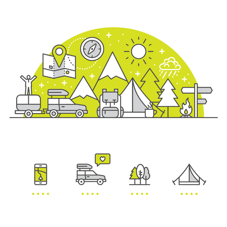 Camping  banner and icons with White Background
