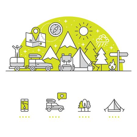 Camping banner en pictogrammen met witte achtergrond