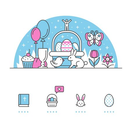 Easter banner and icons with White Background Ilustração
