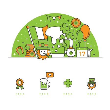Saint Patrick's Day banner en pictogrammen met witte achtergrond Stock Illustratie
