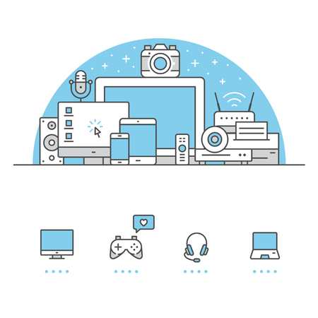 Electronic Devices banner and icons with White Background Ilustração