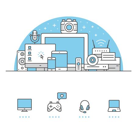 Elektronische apparatenbanner en pictogrammen met witte achtergrond