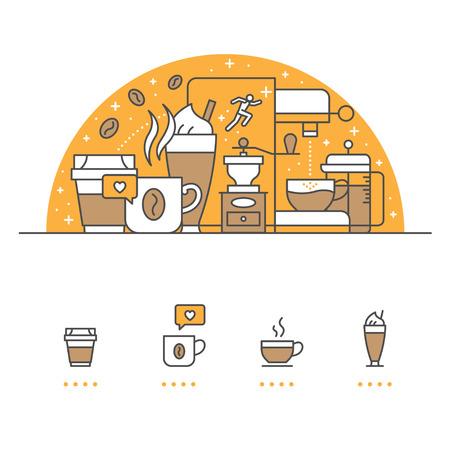 Koffiebanner en pictogrammen met witte achtergrond
