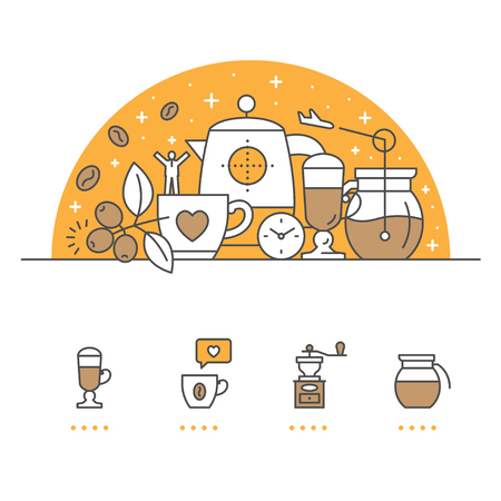 Coffee banner and icons with White Background Banco de Imagens - 93794404
