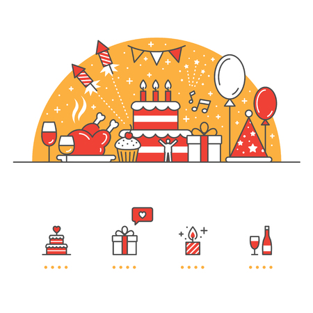 Viering, feest banner en pictogrammen met witte achtergrond