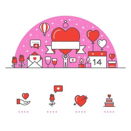 Valentijnsdag banner en pictogrammen met witte achtergrond Stock Illustratie