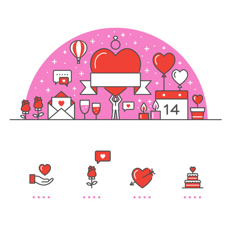 Valentines Day banner and icons with White Background