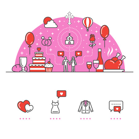 Love, Wedding banner and icons with White Background Banco de Imagens - 94470461