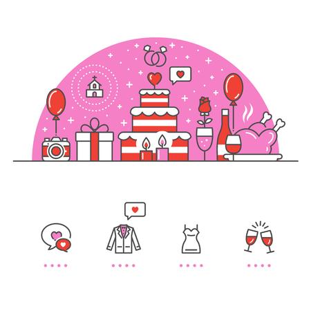 Liefde, bruiloft banner en pictogrammen met witte achtergrond