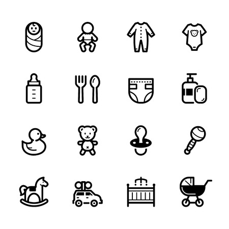 Baby icons with White Background Stock Illustratie