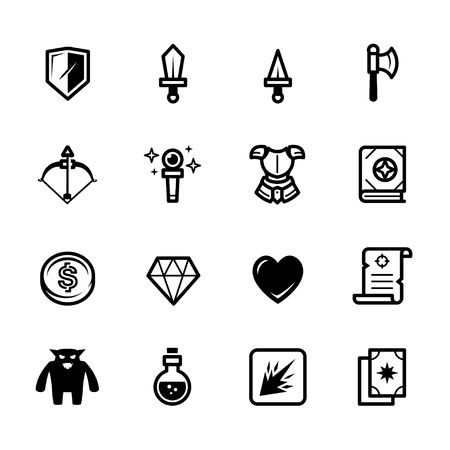 Fantasy game icons with White Background Stock Illustratie