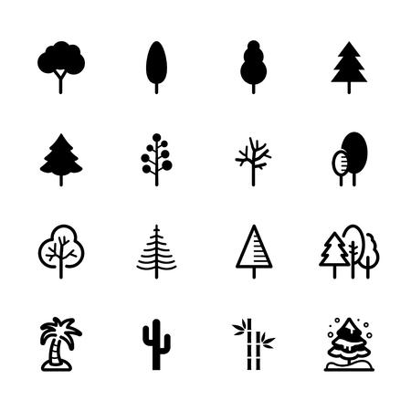 Tree icons with White Background Stock Illustratie