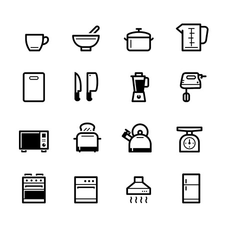 Kitchen icons with White Background Banco de Imagens - 109588533