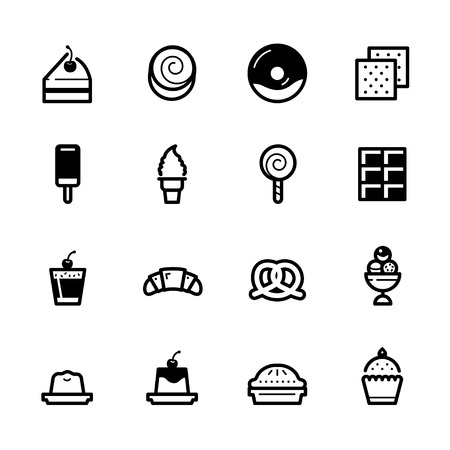 Dessert icons with White Background