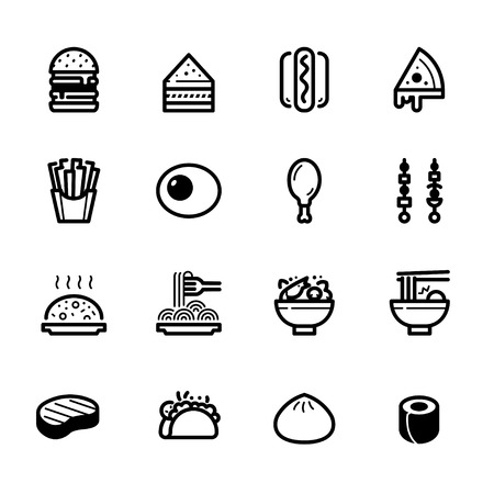 Food icons with White Background