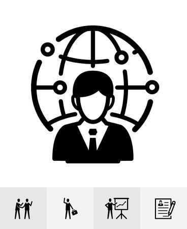 Management- und Personal-Icons mit weißem Hintergrund