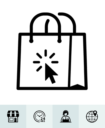 E-Commerce and online shopping icons with White Background Stock Illustratie