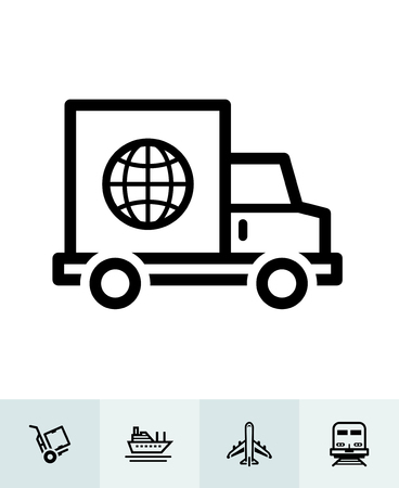 Shipping and Logistics icons with White Background Banco de Imagens - 105755009