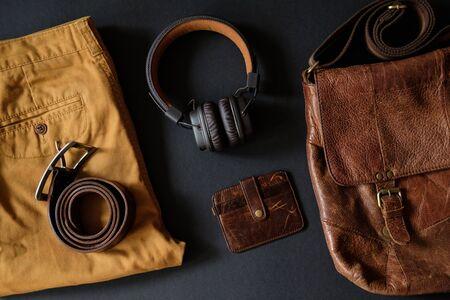 Men's accessories set, lay flat on black