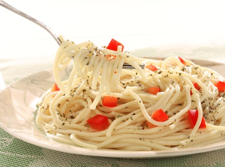Pasta with red peppers