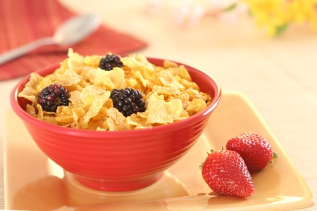 Morning breakfast of cornflakes and berries