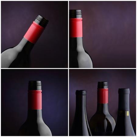 Vier studio afbeeldingen van wijnflessen Stockfoto