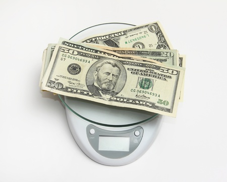 US currency notes on a weighing scale