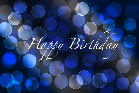 Birthday greeting card background with bokeh lights