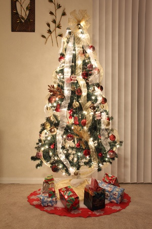 Christmas tree with lighting, decoration and ornaments