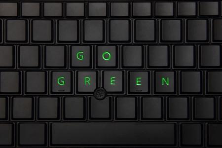 Go GREEN on a keyboard - Eco friendly Stock Photo