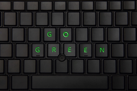 Go GREEN on a keyboard - Eco friendly Banco de Imagens