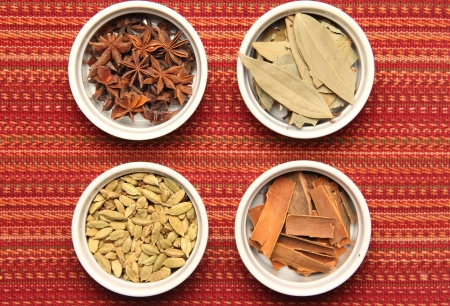 Indian spices in ramekins
