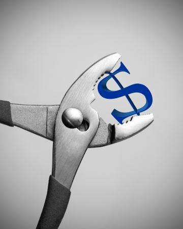 wirtschaftskrise: US-Wirtschaftskrise - Dollar zerquetscht Lizenzfreie Bilder