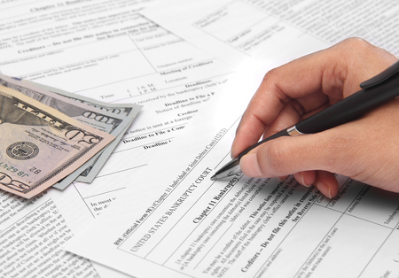 Business under loss applying for bankruptcy Stock Photo