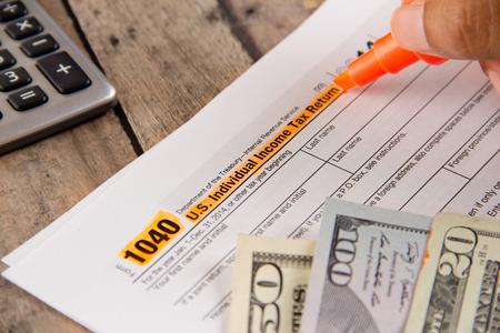 IRS vorm 1040 voor de federale belastingen