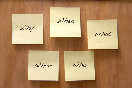 Common questions written on a notice board Stock Photo